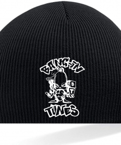 Bangin Tunes - Black Beanie Hat - White Logo (Embroidered)