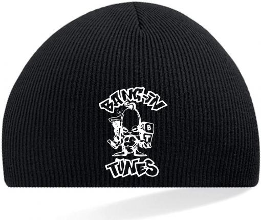 Bangin Tunes - Black Beanie Hat - White Logo (Embroidered)