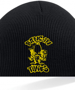 Bangin Tunes - Black Beanie Hat - Gold Logo (Embroidered)