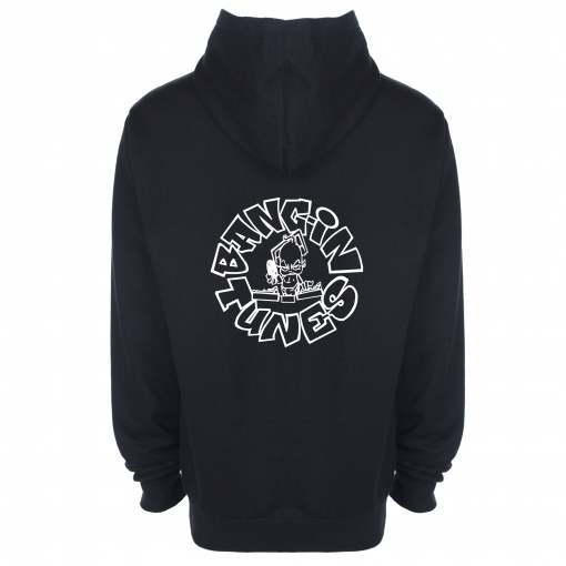 Bangin Tunes - Black Hoodie - White Front + Back Logo (Embroidered)