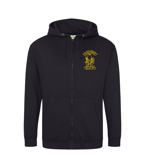 Bangin Tunes - Black Hoodie - Gold Front + Back Logo (Embroidered)
