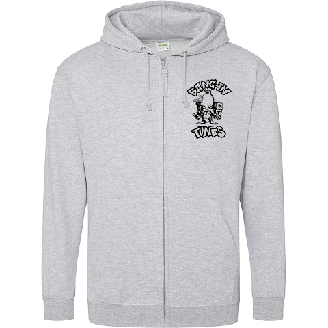 Bangin Tunes - Grey Hoodie - Black Front + Back Logo (Embroidered)